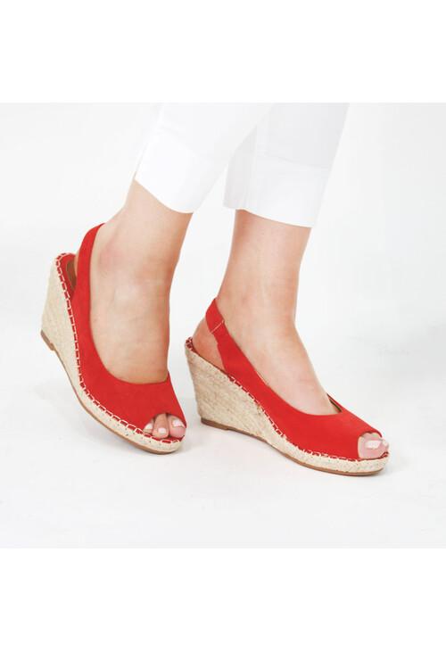 Pamela Scott Red Espadrille Wedge Sandals