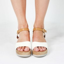 Pamela Scott White & Beige Strap Sandals