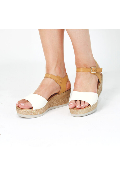 Pamela Scott White & Beige Strap Sandals