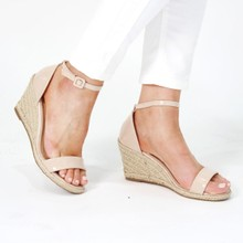 Pamela Scott Beige Patent Wedge Sandals