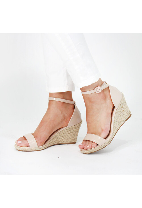 Pamela Scott Beige Patent Wedge Sandals
