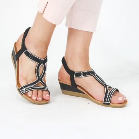 Pamela Scott Black & Crystal Diamante Sandals