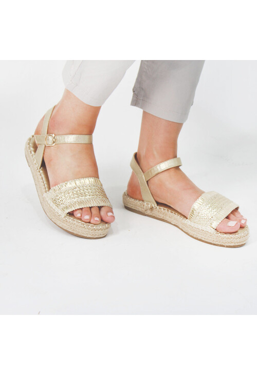 Pamela Scott Gold Metallic Strap Sandals