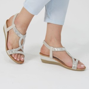 Pamela Scott Silver Diamante Detail Sandals