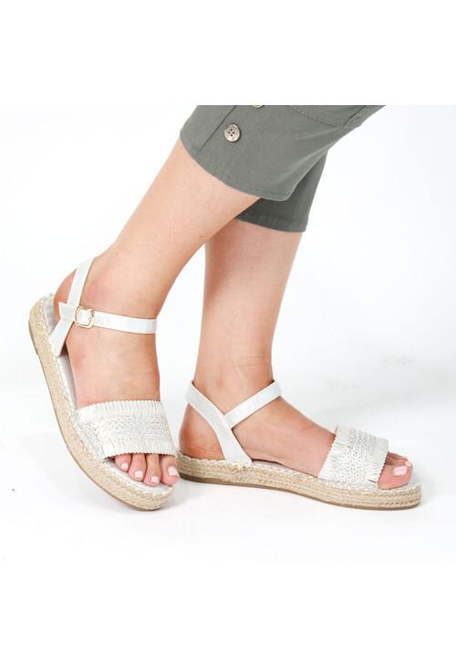Pamela Scott Silver Metallic Strap Sandals