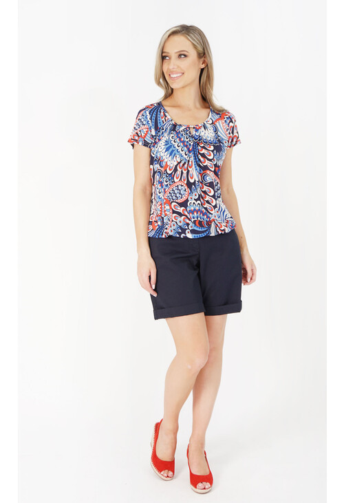Zapara Bubble Hem Printed Top