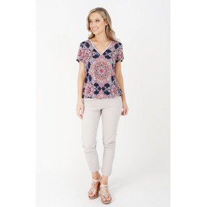 Zapara Navy Paisley Pattern Diamante V-Neck Top