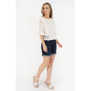 Stella Morgan White Crochet Cap Sleeve Top