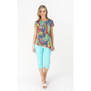 Zapara Green, Red Abstract Print Pattern Top