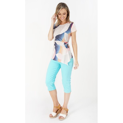 Zapara Beige & Blue Abstract Pattern Print Top