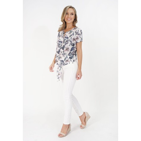 SophieB Off White Floral Print Tie Hem Top
