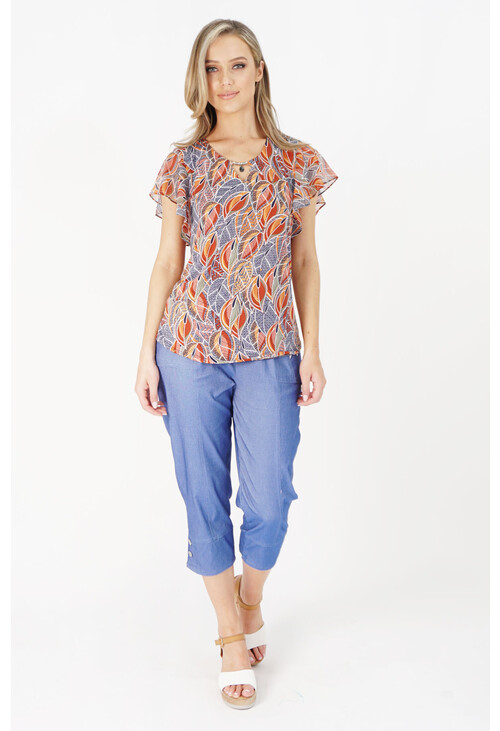 Twist Blue & Orange Denim Leaf Pattern Top