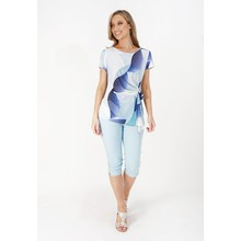 Zapara Light Blue & Navy Abstract Pattern Print Top