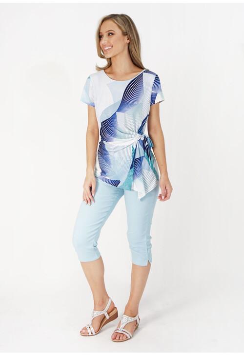 Zapara Light Blue & Navy Abstract Pattern Print Top