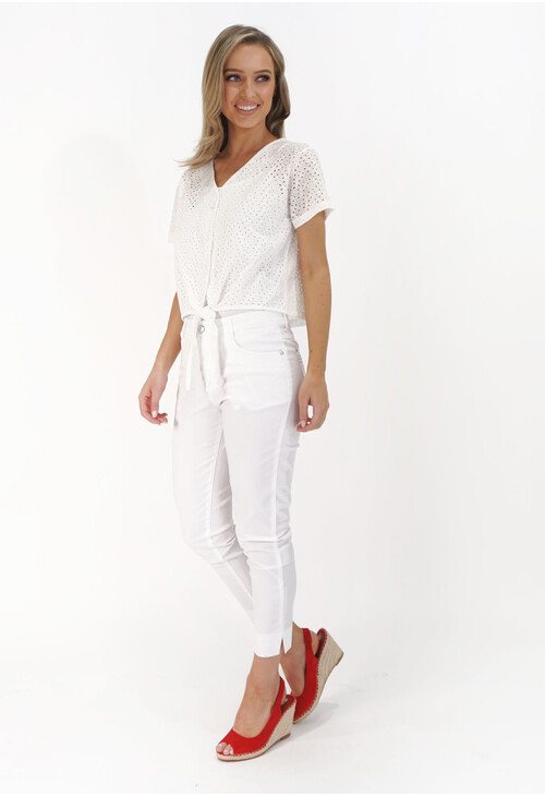 Twist White Button Up Light Top