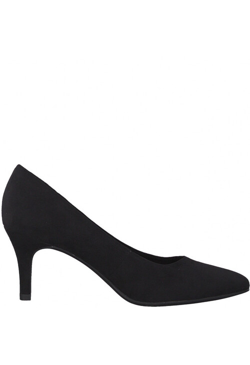 Marco Tozzi Black Suede Effect Slim Wedge Court