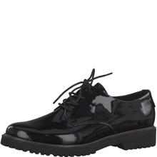 Marco Tozzi Black Patent Plain Laced Shoe