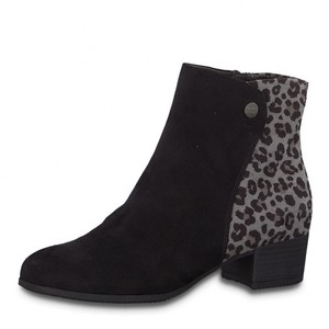 Pamela Scott Black Microfibre Leopard Print Ankle Boot