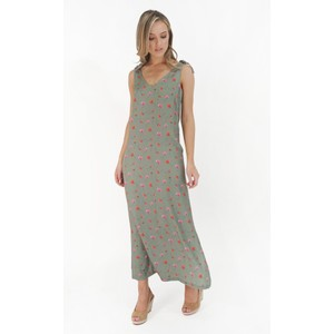Twist Loose Khaki Flower Print Dress