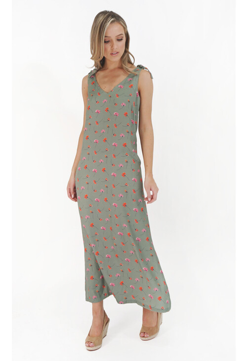 Twist Loose Khaki Flower Print Dress