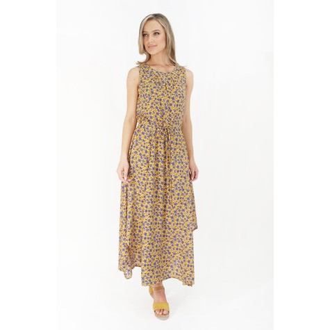 Stella Morgan Mustard & Blue Floral Print Dress