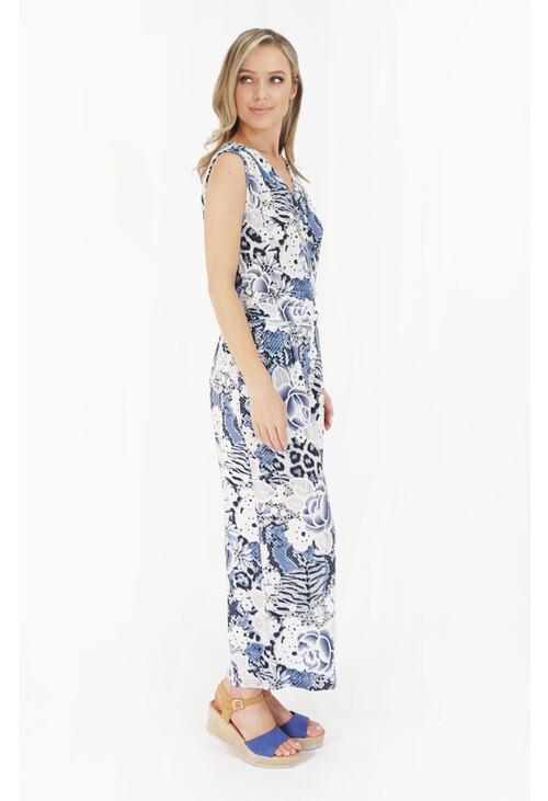 Pamela Scott Blue Floral Pattern Print Jumpsuit