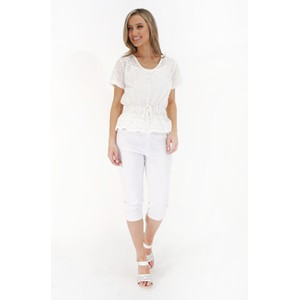 Twist White Pearl Detail V-Neck Top