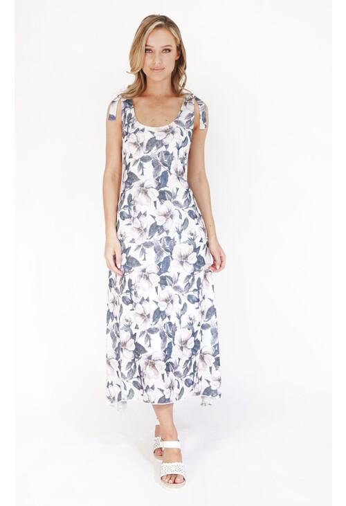 Sophie B Khaki Rose Print Sleeveless Dress