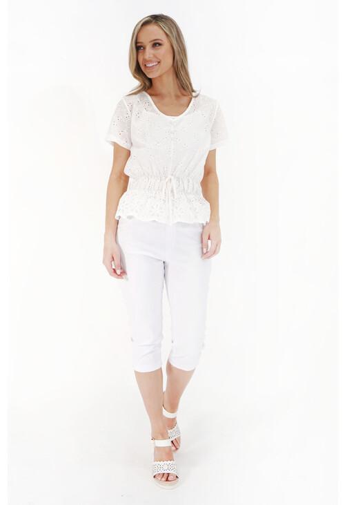 Pamela Scott White Elastic Waist 3/4 Denim Trousers