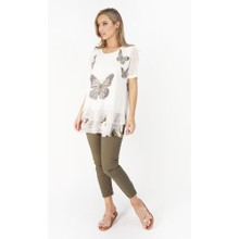 Stella Morgan Cream Mesh Butterfly Print Top