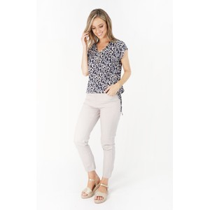 YOU YOU Beige Zip Detail Jeans