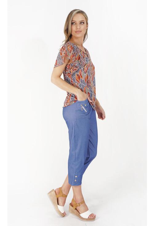 Pamela Scott Blue Denim Feel Zip Detail Trousers