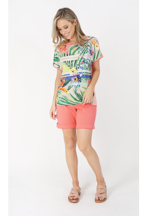 Betty Barclay Red / Petrol Floral Print Top