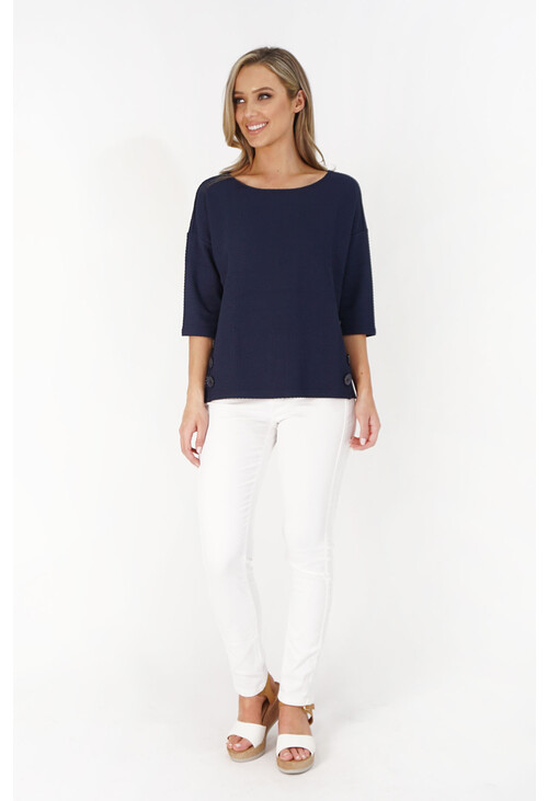 Betty Barclay Navy Round Neck Textured Sweater