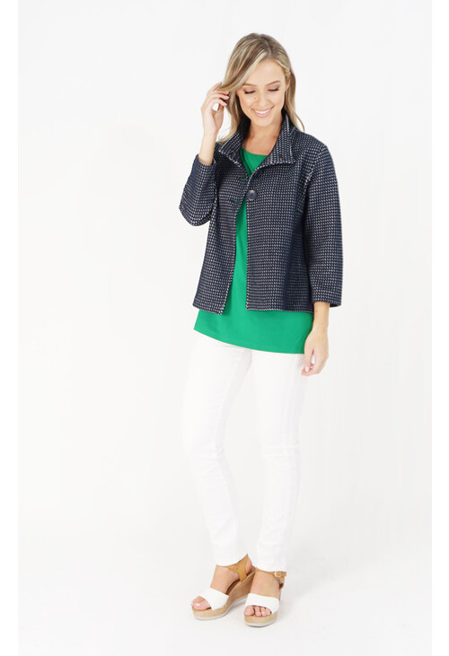 Betty Barclay Navy Textured Short Button Jacket