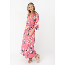 Kilky Paris Fushia, Blue & Green Floral Print Long Dress
