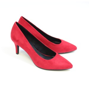 Marco Tozzi Red Suede Effect Slim Wedge Court Shoe