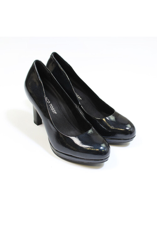 Marco Tozzi Navy Patent Slim Wedge Court