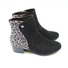 Jana Black Microfibre Leopard Print Ankle Boot