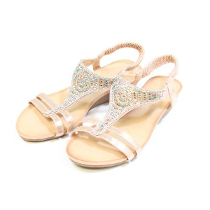 Pamela Scott Champagne Diamante Sandals