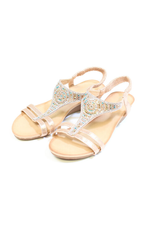 Pamela Scott Champagne Diamante Sandals