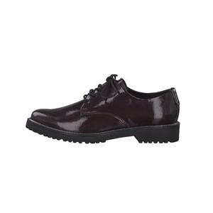 Marco Tozzi Bordeaux Patent Plain Laced Shoe