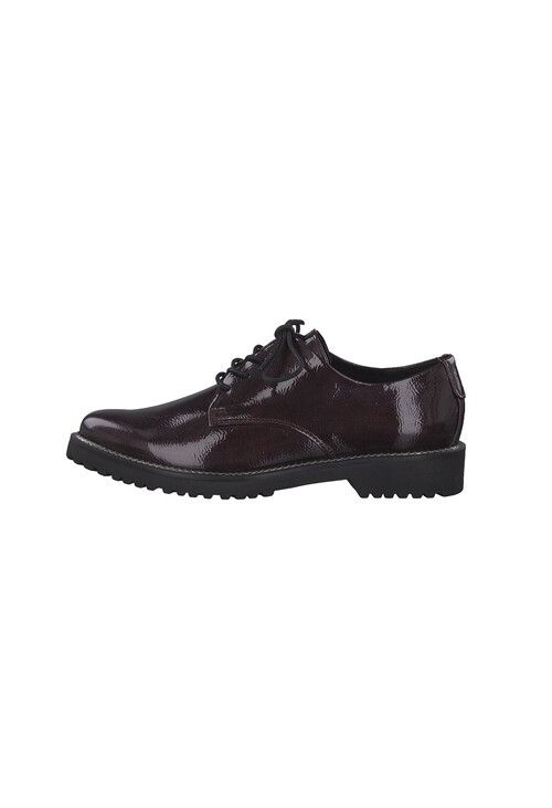 Marco Tozzi Bordeaux Patent Plain Laced Shoe