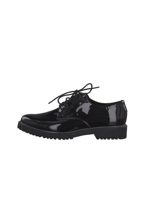 Marco Tozzi Black Patent Plain Laced Shoe