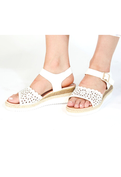 Pamela Scott White & Beige Sandal Wedge