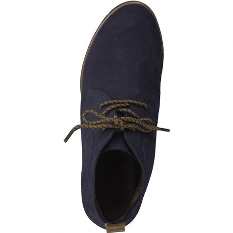 Marco Tozzi Navy Suede Effect Laced Dessert Boot