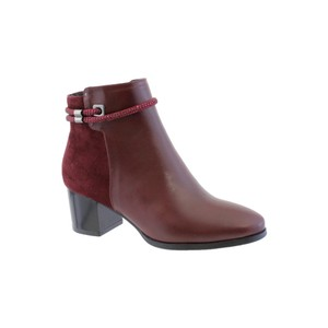 Susst Burgundy Block Heel Plain Front Ankle Boot