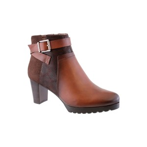 Susst Tan Block Heel Plain Front Ankle Boot