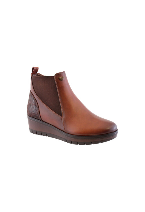 Susst Tan Chelsea Style Low Wedge Boot