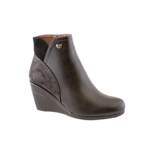 Susst Black Mid Wedge Ankle Boot
